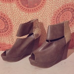 Grey & Gold Ankle Wedges